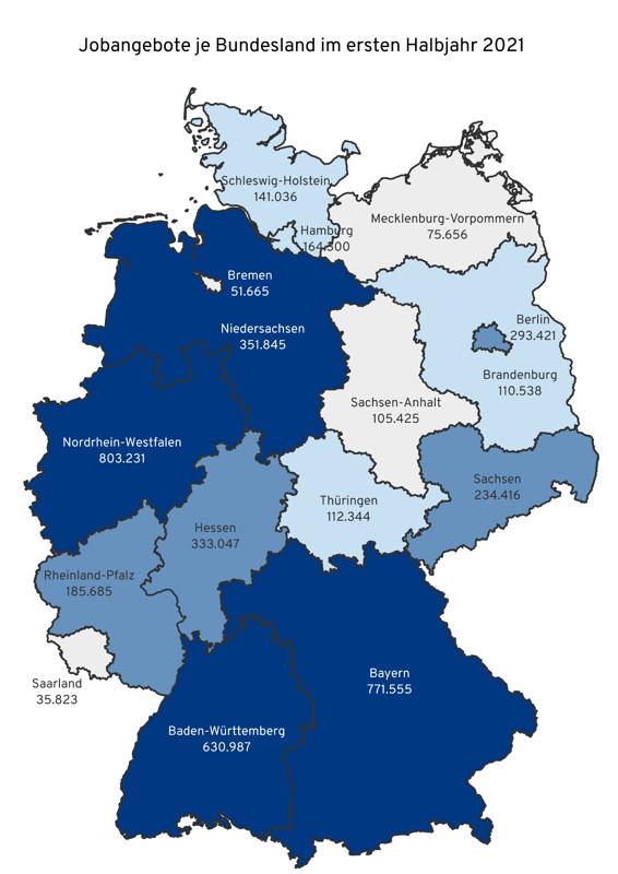 Veröffentlichte Stellenanzeigen nach Bundesland im ersten Halbjahr 2021 (Quelle: index)