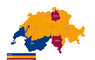 Top-Branche je Region (ohne Personaldienstleister) Oktober 2018 Schweiz