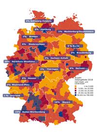 Anzahl Jobangebote pro Bundesland in 2018